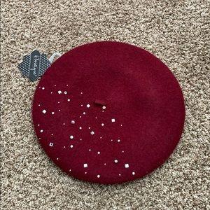 rhinestone raspberry beret hat NWT